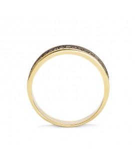 Pierścionek z żółtego złota z czarnymi brylantami - 358/05 - 0,34 CT