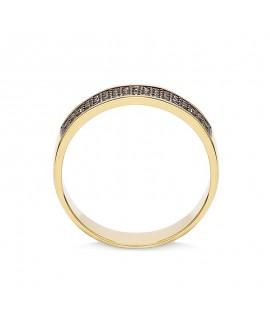 Pierścionek z żółtego złota z czarnymi brylantami - 428/05 - 0,36 CT