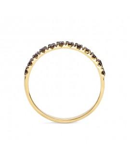 Pierścionek z żółtego złota z czarnymi brylantami - 345/05 - 0,24 CT