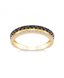 Pierścionek z żółtego złota z czarnymi brylantami  0,099 CT H/Si , 0,24 CT Czarne Brylanty