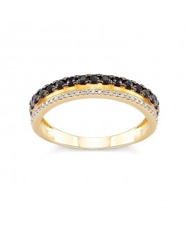 Pierścionek z żółtego złota z czarnymi brylantami 0,099 CT H-I/Si-P2 , 0,24 CT Czarne Brylanty