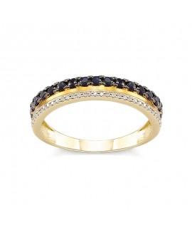 Pierścionek z żółtego złota z brylantami i szafirami 377/05 - 0,099 CT H-I/Si-P2