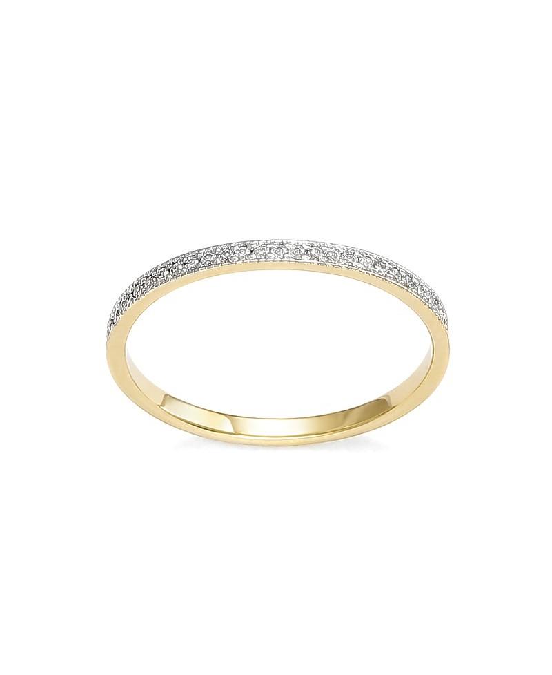 Pierścionek z żółtego złota z brylantami - 409/05 - 0,11 CT H/Si