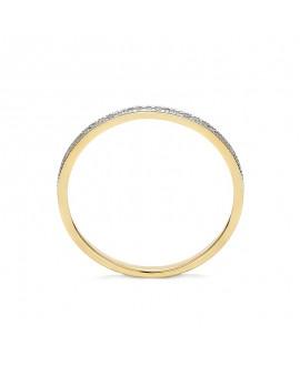 Pierścionek z żółtego złota z brylantami - 409/05 - 0,11 CT H-I/Si-P2