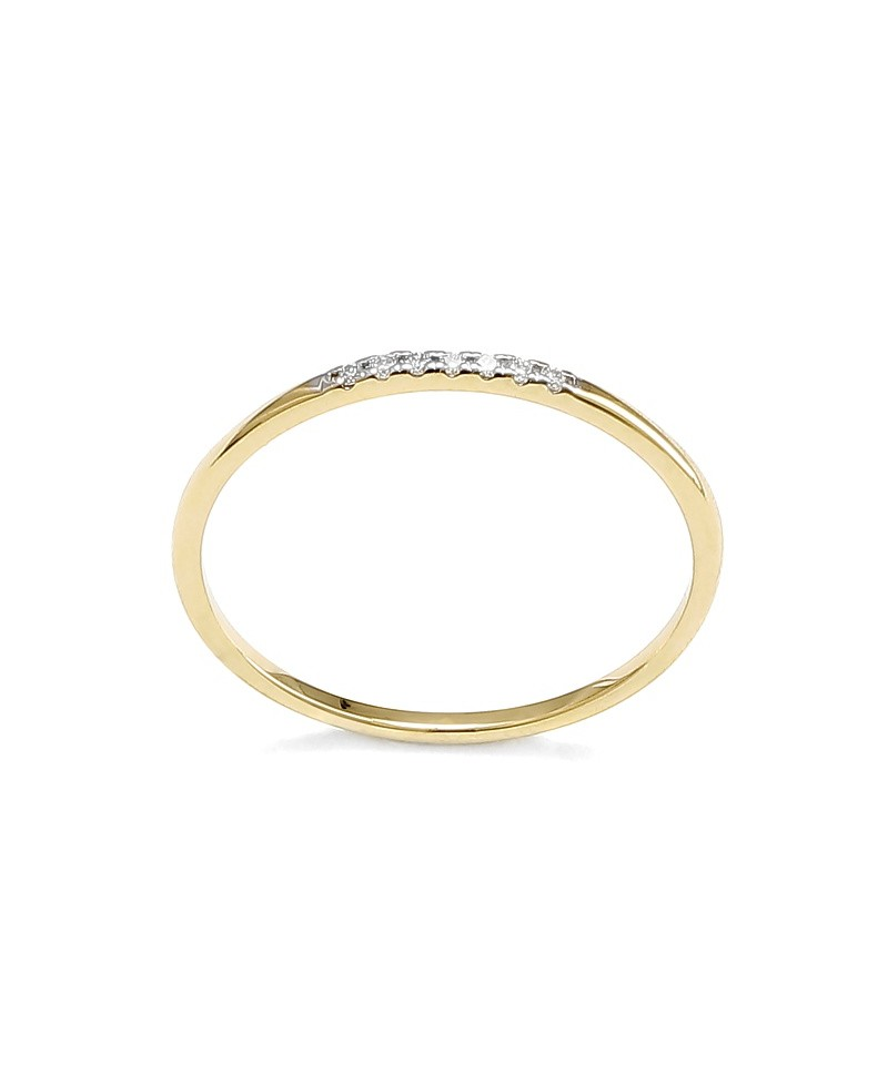 Pierścionek z żółtego złota z brylantami - 414/05 - 0,05 CT H-I/Si-P2