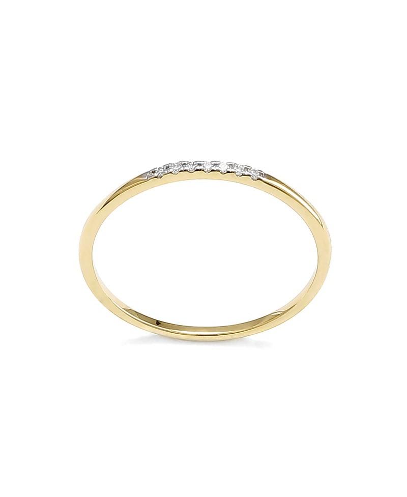 Pierścionek z żółtego złota z brylantami - 414/05 - 0,05 CT H/Si