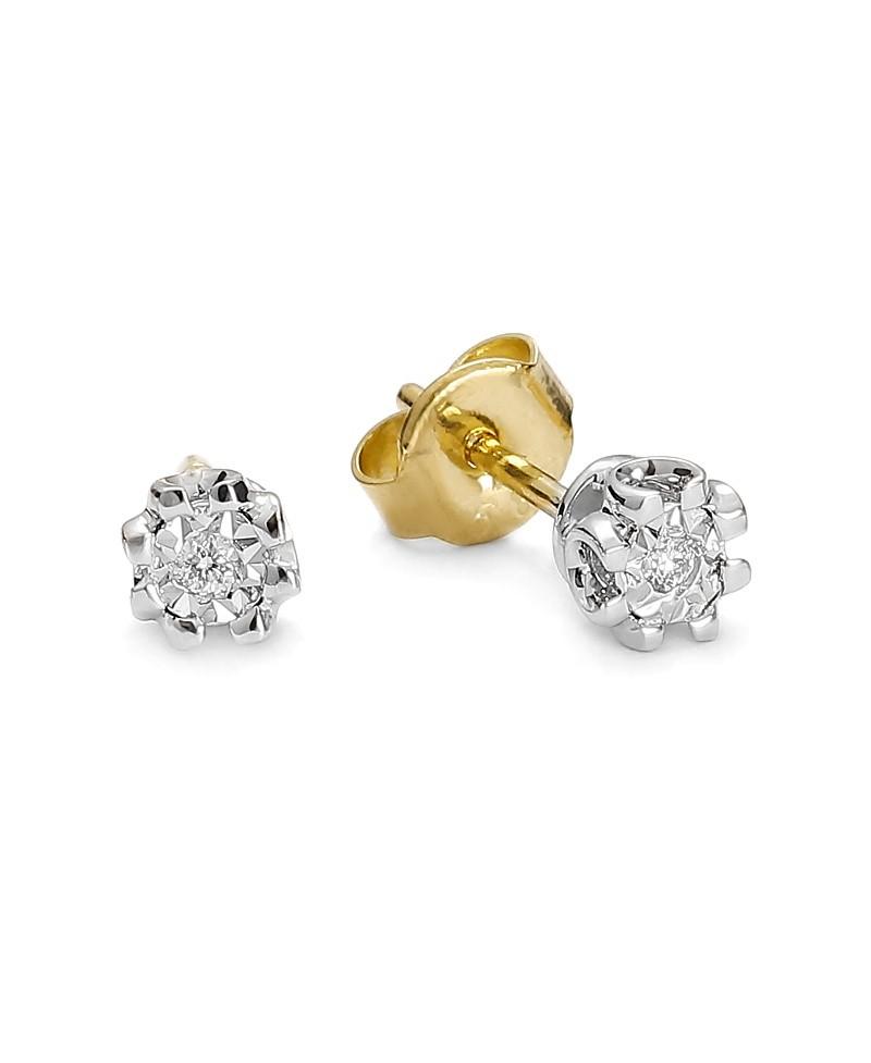 Kolczyki z żółtego i białego złota z brylantami- T234/03/k - 0,03 ct H/Si