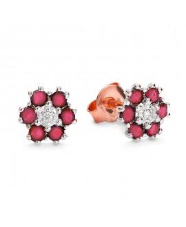 Kolczyki z brylantami i rubinami z różowego złota 0,02 ct
