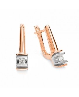 Kolczyki z brylantami na angielskim zapięciu z różowego złota 0.12 ct