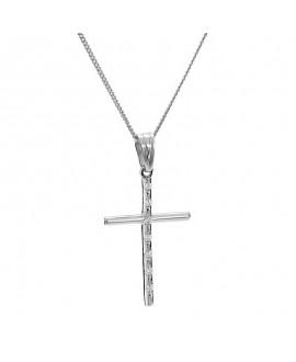 Krzyżyk z białego złota z brylantami - 405/05 - 0.07ct H/Si
