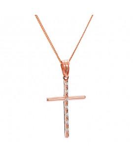 Krzyżyk z różowego złota z brylantami - 405/05 - 0.07ct H/Si