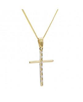 Krzyżyk z żółtego złota z brylantami - 405/05 - 0.07ct H/Si