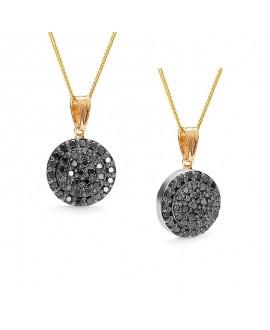 Wisiorek z żółtego i białego złota z czarnymi brylantami 0.11ct 317/05 - 0.11ct Black Diamonds