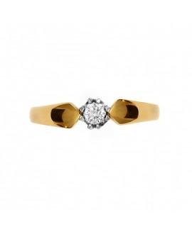 Pierścionek z żółtego złota z brylantem 0.11 ct 234/03