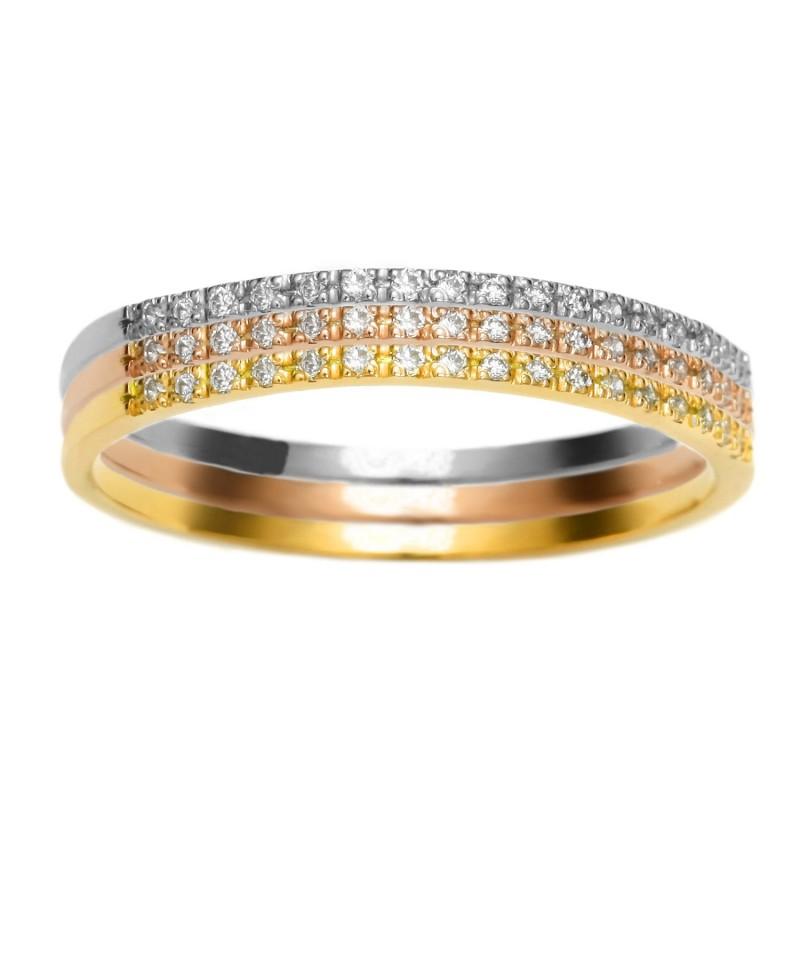 Trzy pierścionki - Trzy kolory złota 275/05 0.15 ct H/Si