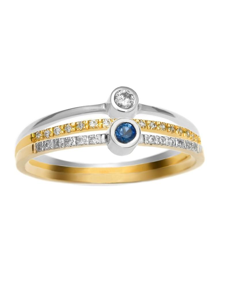 Trzy pierścionki - brylanty i szafir 275-05 276-05 277-05