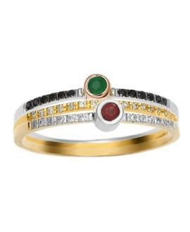 Trzy pierścionki - białe i czarne brylanty rubin szmaragd 276-05-bd 276-05 275-05