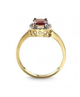 Pierścionek z żółtego złota z brylantami i rubinem -308/05 0.15ct H/Si