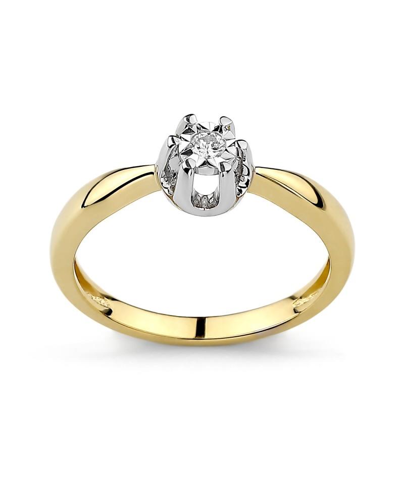 Pierścionek z żółtego złota z brylantem 0,06 ct t335/05 0,06 ct H/Si