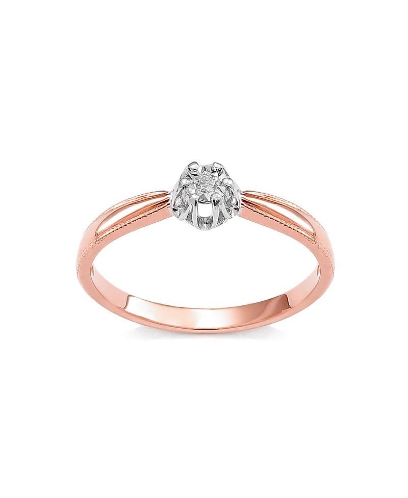 Pierścionek z różowego złota z brylantem 0,015 CT H/Si t314-05