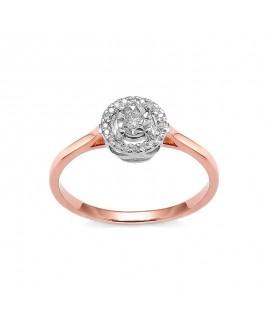 Pierścionek z różowego złota z brylantami 0,12 ct t379-05 różowe złoto