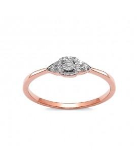 Pierścionek z różowego złota z brylantami 0,083 CT H/SI t372-05 różowe złoto