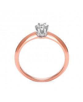 Pierścionek z różowego złota z brylantem -T412/05- 0,06 CT H/SI