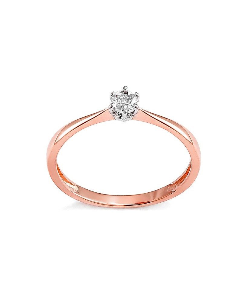 Pierścionek z różowego złota z brylantem -T419/05- 0,03 CT H/SI