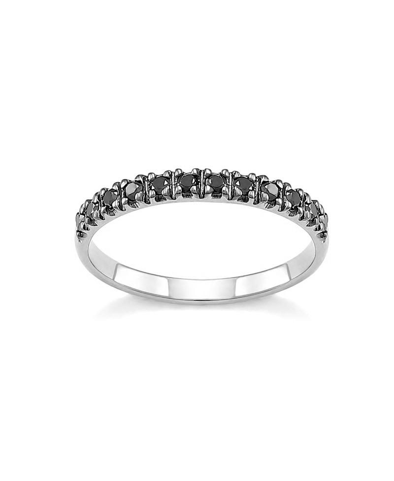 Pierścionek z białego złota z czarnymi brylantami - 345/05 - 0,24 CT
