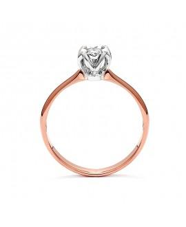 Pierścionek z różowego złota z brylantem 0,11 CT H/SI t437-05