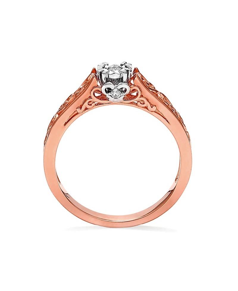 Pierścionek z różowego złota z brylantami- t356/05 0.09 ct H/Si