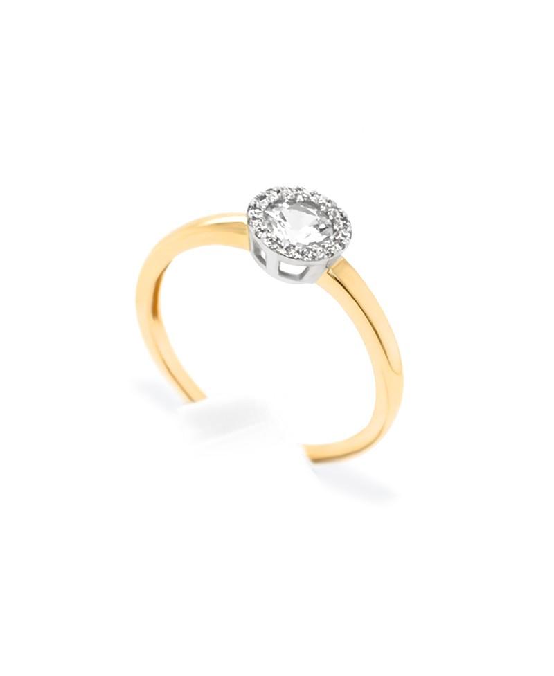 Pierścionek z żółtego złota z brylantami i białym szafirem - 319/05 0.05ct H/Si