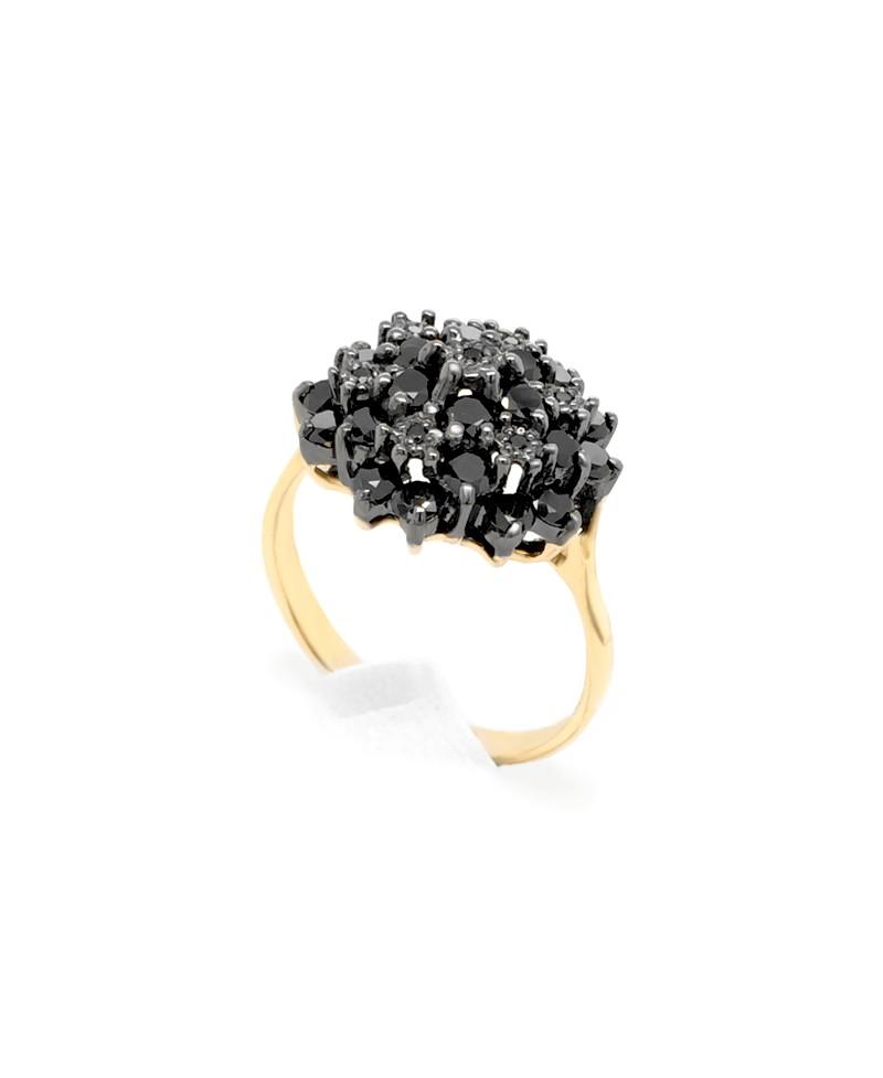 Pierścionek z żółtego złota z czarnymi brylantami - 507 1.16 ct Black Diamonds