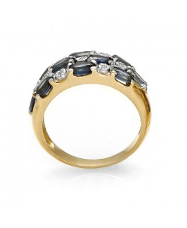 Pierścionek z żółtego złota z szafirami i brylantami 0,07 ct - 185 szafir
