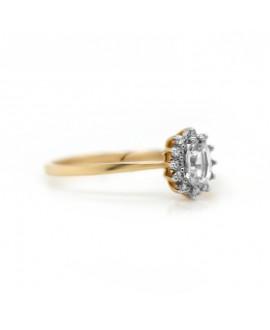 Pierścionek z żółtego złota z brylantami i białym szafirem- 309/05 0.08 ct H/Si, Szafir