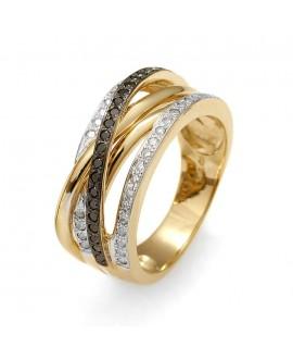 Pierścionek z żółtego złota z białymi i czarnymi brylantami 0,55 ct 207/05 bd black diamonds