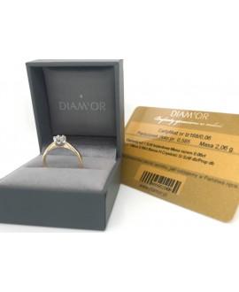 Pierścionek z żółtego złota z brylantem 0.06 ct tz168 0.06ct H/Si opakowanie i certyfikat