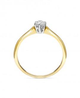 Pierścionek z zółtego złota z  brylantem - 370/05 - 0,24 CT H/SI