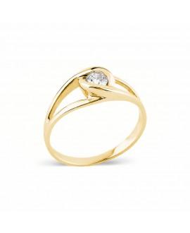Pierścionek z żółtego złota z brylantem - 211/05 - 0,11 CT H/SI