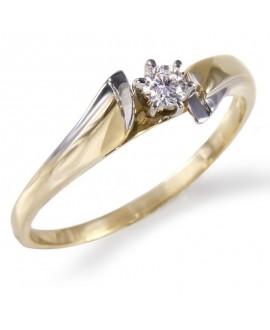 Pierścionek z żółtego złota z brylantem -257/05- 0,11 CT H/SI