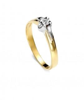 Pierścionek z żółtego złota z brylantem - 285/03 0,09 ct H/Si