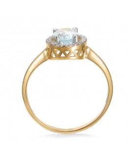 Pierścionek z żółtego złota z brylantami topazem niebieskim -308/05 0.15ct H/Si