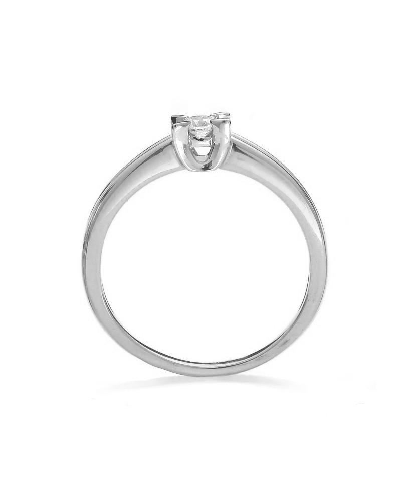 Pierścionek z białego złota z brylantem - 261/05 0.11ct H/Si - białe złoto