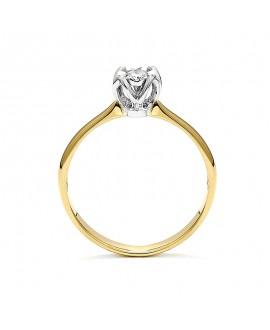 Pierścionek z żółtego złota z brylantem -T438/05- 0,6 CT H/SI
