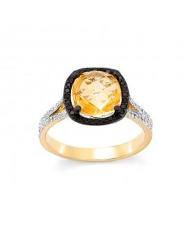 Pierścionek z żółtego złota z czarnymi brylantami i cytrynem 449/05 0.47ct