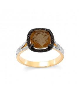 Pierścionek z żółtego złota z czarnymi brylantami i kwarcem dymnym  449/05 0.47ct