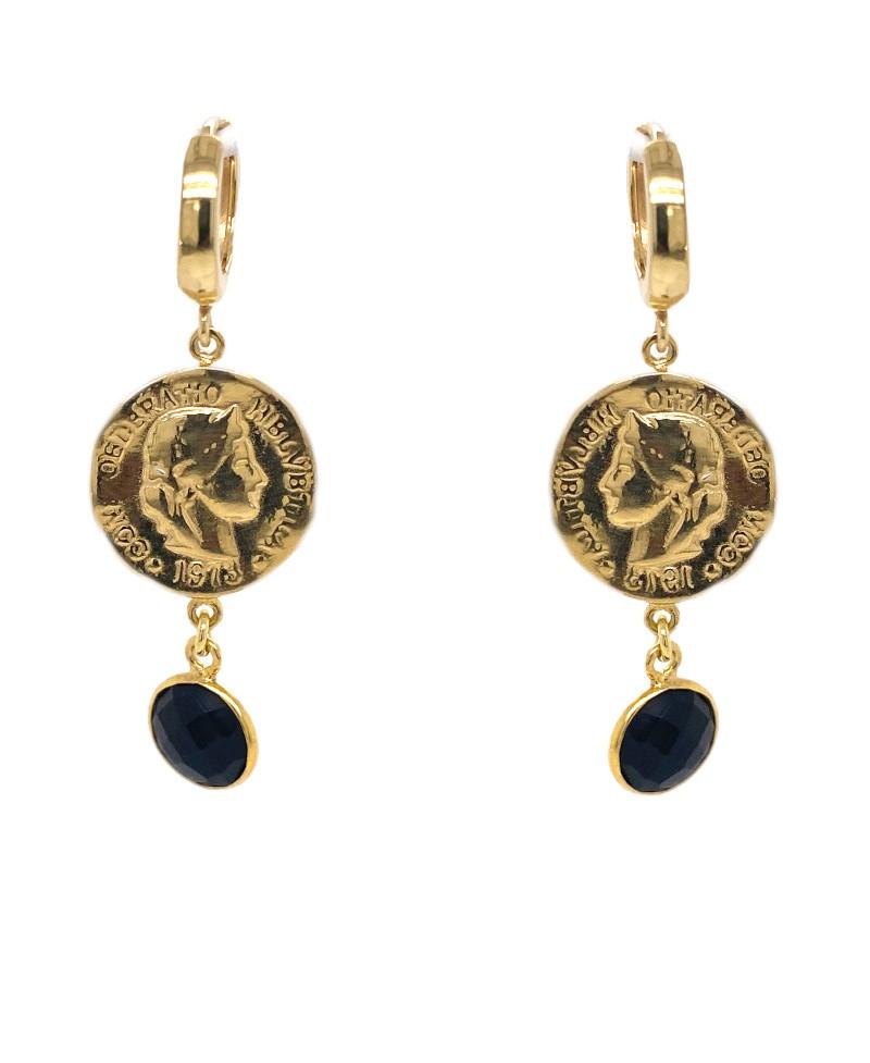 Kolczyki srebrne - złocone - czarna zirconia antyczne monety