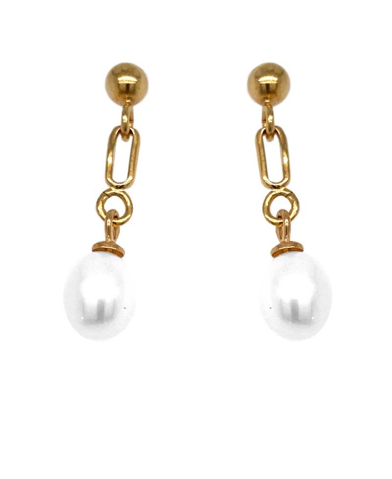 Kolczyki srebrne - złocone - perła naturalna sztyfty
