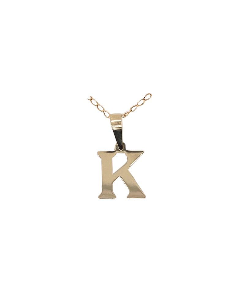 Złota zawieszka - Literka K próba złota 0,585