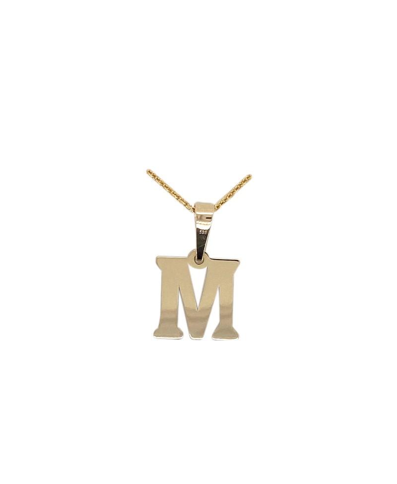 Złota zawieszka - Literka M próba złota 0,585